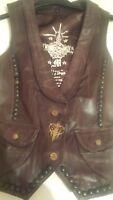 Vintage distressed brown leather waistcoat, jacket, stud detail, designer, usa..