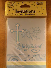 "(48) Faithful Dove Blue Invitations ""Christening"" Cards & Envelopes"