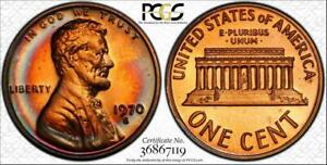 1970-S 1c LINCOLN MEMORIAL PENNY PCGS PR66RD LARGE DATE BEAUTIFUL TONED COIN!