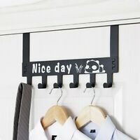 Metal Hanger Storage Holder Over-The-Door Hook Rack Hanging Coat Hat Towel Bags