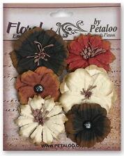 Medium Mix BLACK BROWN CREAM - 6 Flowers 35-50mm Paper Darjeeling Petaloo Box