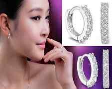 Women Wedding Jewelry Silver White rhinestone Crystal Hoop Earrings 1 pair hs