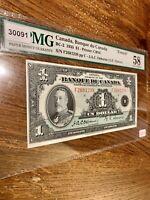 """Canada 🇨🇦 """"French"""" Banknote. 1 Dollar 1935. PMG 58 CAU Graded S/N F2681238 pp."""
