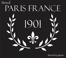 Joanie Stencil Paris France 1901 French Fleur Laurel Wreath Branches Market Art