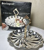 """Vintage Sterlingcraft Silver Plated 8"""" Scalloped Snack Tray 24K Gold Handle NIB"""