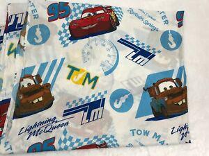 Disney Pixar Cars Theme Twin Flat Sheet White Blue Tow Mater Lightning McQueen