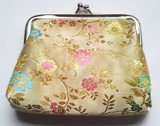 Chinese Embroidery Silk Satin Mini Coin Pouch PURSE Wallet Gold (1PCS)