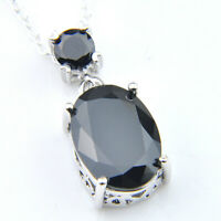 Handmade Jewelry Oval Black Onyx Gemstone Silver Necklace Pendant With Chain