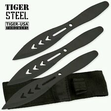 3 Piece Throwing Knife Set w/ Sheath Black Knives Surgical Blade