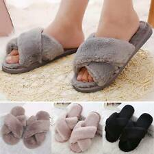 Fur Fluffy Slippers Sliders Womens Casual Cross Over Open Toe Ladies Mules Shoes