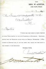 JAMES WOLCOTT WADSWORTH - SIGNATURE(S) CIRCA 1892