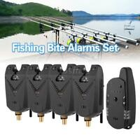 4xElectronic LED Fishing Bite Sound Alarm Alert Bell Clip On Rod Fish Receiver