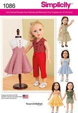 Simplicidad patrón de costura 18 pulgadas muñeca Ropa Vestido Falda Blusa Top 1086 un
