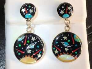 NASA Map of the stars Outer Space Opal turquoise earrings dangle chandelier 925
