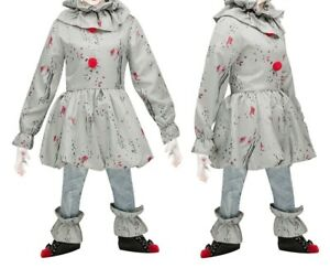 Halloween Kids Crazy Clown Scary Costume Outfit Children Pennywise Fancy Dress