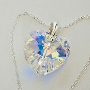 925 Sterling Silver Made With Swarovski® Crystals AB 18mm Heart Necklace Pendant