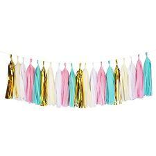 Mint Pink Gold Ivory White Tassel Garland Banner Party Decoration Wedding