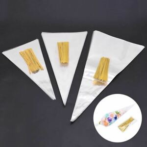 50Pcs/Set Clear Packing Plastic Bag Transparent Cone Candy Bag For DIY