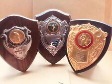 Job Lot x3 Vintage Wooden Trophy Shields 1960's / 1970's Cricket #42 Free UK P&P