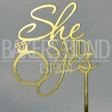 She Said Yes Gold Acrylic Engagement Ring Wedding Day Cake Topper Silhouette