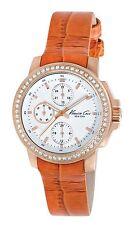 Kenneth Cole New York KC2803 New Multifunction Watch Orange Croco-Embossed Strap