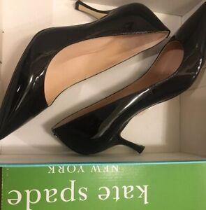 Kate Spade Black Patent Soniat Pumps 10 New Kitten Low Heel