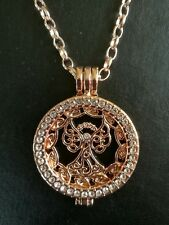 Rose gold guardian angel coin NECKLACE crystal locket 32 inch Chain  MO9