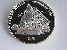 1999 Kiribati Coquille 1824 $5 Silver Coin, Proof