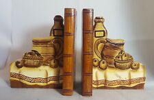 Beautiful Pair of Wooden Decorative Bookends (Height - 16 cm)