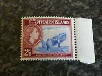 PITCAIRN ISLANDS POSTAGE STAMP SG 28A 2/6 BLUE & DEEP LAKE UMM MARGINAL