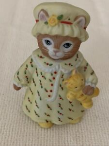 Kitty Cucumber Priscilla and J.P Collectable Kitty Sculpture Schmid Two Kittens Walking in Flowers with Ball Buster Porcelain Figurine