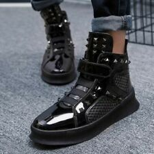 Mens  High Top Boards Shoes Rivet Patent Leather Buckle Fashion Sneakers Boots