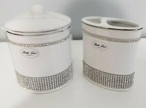Bella Lux Vanity Jar & Double Brush Holder Rhinestones White Ceramic Bathroom