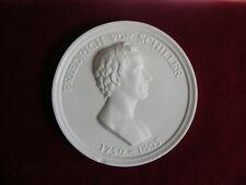 Friedrich  von  SCHILLER   Meisen Porzellan  Medaille  DDR  100 mm  (1049