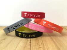 Epilepsy Medical Alert Wristband Silicone Temporary Band Adult Kids SALE SECONDS