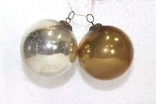 2 Pc Old Vintage Kugel Hanging Ornament Beautiful Round Glass Collectible Pf-90
