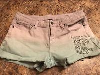 Disney The Little Mermaid Ariel Dip Dye Cut-Off Shorts Purple Green Raw Hem 13