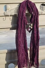 Burgundy scarf with resin pendant charms scarf fashion necklace