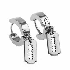 Pair Huggie Hoop Earring Razor Dangle Stainless Steel Huggies Earrings 2 Pieces