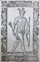 Indiens d'Amérique 1598 USA Rarissime Gravure sur Bois publiée à Venise Vecellio