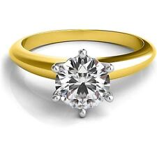 1.00CT Forever One Moissanite 6 Prong Solitaire Wedding Ring 18K Two Tone Gold