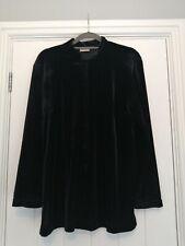 Roman Synthetic Black Velvet Button Down Blouse Size 16