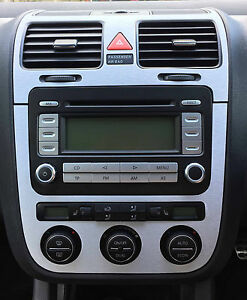 Brushed Aluminium effect climatronic a/c + air vents to fit VW Golf Mk5 Jetta