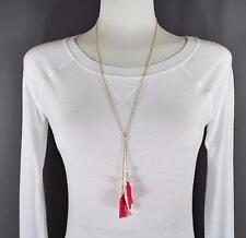 Pink Gold tassel fringe pearl lariat necklace thin skinny chain adjustable long