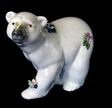 LLADRO #6354 ATTENTIVE POLAR BEAR W/FLOWERS BNIB ARTIC BARGAIN $50 OFF FREE SHIP