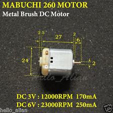 DC1.5V 3V 5V 6V 23000RPM High Speed Mabuchi 260 Motor Micro Brush Motor Car Boat