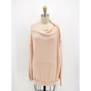 We The Free People Womens Main Squeeze Hacci Blouse Pink Stretch Ribbed S New