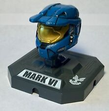 """Collectible Halo 2009 Microsoft Blue Mark VI Collector's Helmet w/Stand 3"""" Tall"""