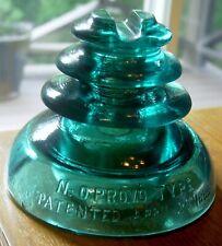 Hemingray #0 Provo Type Insulator Antique Aqua Glass 1899 Industrial Railroad