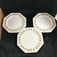Set of 3 Vintage JOHNSON BROS IRONSTONE POSY Octagon Salad Bread Plates